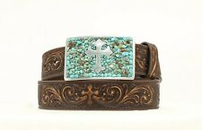 Nocona Western Belt Womens Cross Tooled Brown Turquoise N3423002