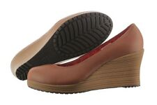 Crocs A-leigh Closed Toe Wedge 14700-2D8 Leather Shoes Medium (B, M) Women