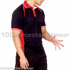 Mens Contrast Sports Work Wear Polo Shirt Short Sleeve Breathable 100% Polyester