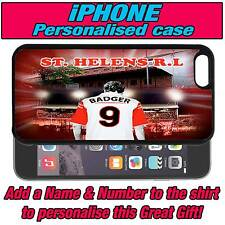 PERSONALISED ST HELENS R.L RUGBY LEAGUE iPHONE 4 s 5 s 5c SILICONE BACK CASE