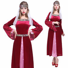 Womens Maid Marion Costume Medieval Robin Hood Fancy Dress Ladies Marian Outfit