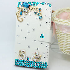 3D Swan Bling Diamond Crystal Card Wallet Pouch Leather Case Cover For Samsung