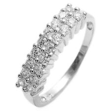925 Sterling Silver Double Row Design with 0.54 Carat Round CZs Ring Size 6-9