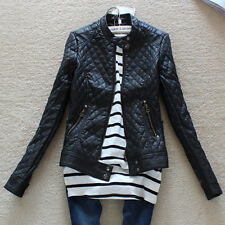 New Women's Fashion Casual Faux Leather Lattice India Zipper Coat Jackets Z391