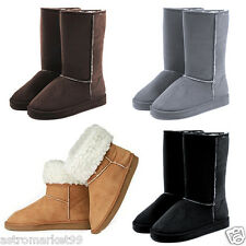 Hot Snow Mid Fur Faux Boots Suede Shoes Calf Sheepskin Winter Warm Womens New