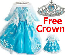 Frozen Elsa Anna Costume Disney Princess Girls XMAS Outfit Long Dress + Crown