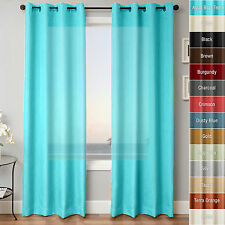 "2 Piece Solid Faux Silk Window Curtain Grommet Panels - 84"" L"