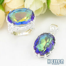 Special Offer GIFT Oval Rainbow Mystic Topaz Silver Pendant & Ring JEWELRY SET