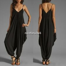 Cotton V Neckline All In One Beach Maxi Long Dress for Women Girl Rompers Pants