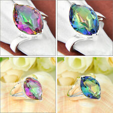 TOP Quality Horse Eye Rainbow Mystic Topaz Amethyst Gemst Silver Ring Sz 6.5 7 8