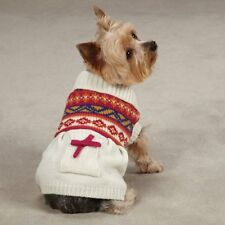 CHOOSE YOUR SIZE - East Side Collection - FAIR ISLE - DOG SWEATER DRESS - CREAM