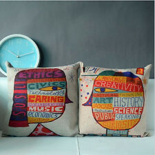 2014 Cotton&Linen Throw Sofa Decor Abstract Style Boy and Girl Cushion Cover