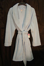 WOW~SOFT THICK PLUSH BABY BLUE BRUSHED TERRY FLEECE NIGHTGOWN WRAP ROBE~3X~NEW