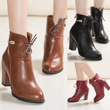 Womens High Chunky Heels Pointy Toe Splice Lace Up Faux Leather Sexy Ankle Boots