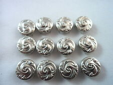 12 Silver Tone Wave Pattern Clothing Studs Decoration 3 Sizes