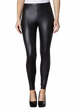 LADIES SEXY SHINY BLACK WET LOOK LEGGINGS SIZE 6 8 10 12 FULL LENGTH XMAS PARTY