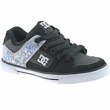 KIDS BOYS DC LEATHER SKATER TRAINERS SIZE 10 - 13 BLACK PURE 301069 BWR
