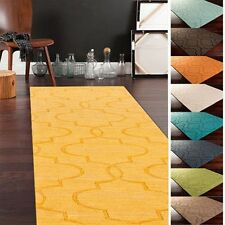 Hand Loomed Benson Casual Solid Tone-On-Tone Moroccan Trellis Wool Area Rugs-(2'