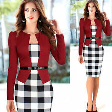 Women Elegant Spring Office Business Formal Tunic Cocktail Stretch Pencil Dress
