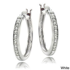DB Designs Sterling Silver 1/4ct TDW White or Color Diamond Hoop Earrings