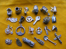 NN VARIOUS VINTAGE STERLING SILVER CHARM WELL HEDGEHOG KEY BELL BIKE TANKARD