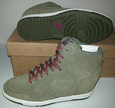 NIKE DUNK SKY HI HIGH-TOP OLIVE SUEDE WEDGE SHOES/BOOTS WOMENS