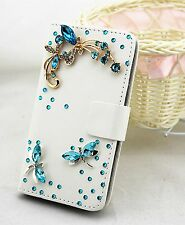 Bling Crystal Wallet Card Holder PU Leather Phone Flip Case Cover For Samsung 2