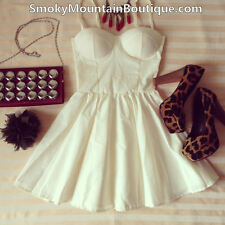 Sexy White Bustier Dress with Adjustable Straps - Size S/M/L