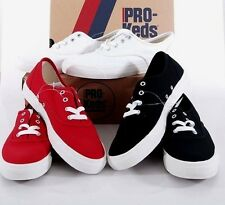 NIB PRO-Keds Womens Canvas Casual Shoes Sneakers White/Black/Red 6/7/8/9/10 NEW