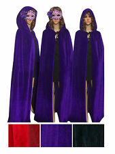 Women Men Full Length Xmas Costume Cosplay Party Velvet Hooded Cape Cloak Tippet