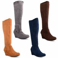 New Womens Ladies Knee Calf High Wedge Heel Faux Suede Boots Shoes Size UK 3-8