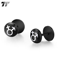 TT Clear Epoxy Sex Symbol Black S.Steel Fake Ear Plug Earrings Single/Pair BD46