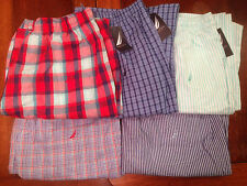 NWT Nautica Men's Striped Plaid Sleep Lounge Pajama Cotton Pants Sleepwear M L