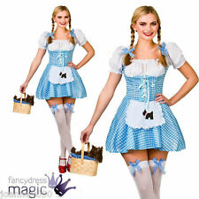 *LADIES WOMENS SHORT SEXY DOROTHY WIZARD OF OZ PANTO FANCY DRESS COSTUME OUTFIT*