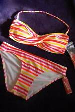 ARIZONA ORANGE RED YELLOW STRIPED BANDEAU TOP  BIKINI SWIM SUIT SIZE MED OR XL