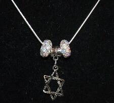 Silver color Necklace with Star of David Charm Plus Crystals and Crystals