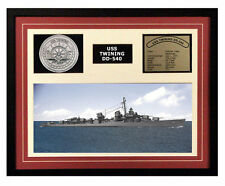 USS Twining DD 540 Framed Navy Ship Display
