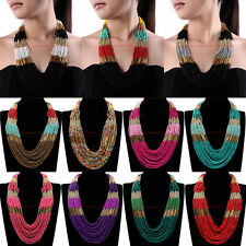 New Fashion Jewelry Chain Resin Seed Beads Choker Statement Pendant Bib Necklace
