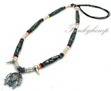 Handmade Necklace w Handcarved Bone,Silver Beads & Pewter Wolf w Dream Catch