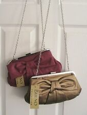 NWT CONVERTIBLE CLUTCH HANDBAG Removable Long CHAIN Purse BOW POCKETBOOK $55