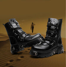 Punk Rock MENS BLACK GOTH PUNK ROCK BAND BUCKLE BOOTS Cowboy boots