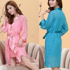 Womens Chiffon intimates Sleepwear Long Nightgown Pajamas Bath Robes silk Sexy
