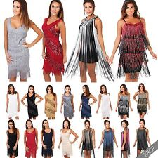 Womens Vintage 20s Flapper Fringe Sequin Deco Swing Bodycon Dress Party Carnival