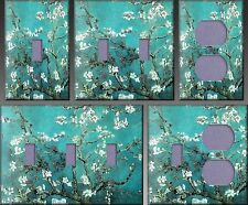 Turquoise Almond Branches Wall Decor Light Switch Plate Cover