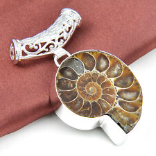 """81 Ct ! Natural Ammonite Fossil Gemstone Silver Pendant For Christmas Gift 2"""""""