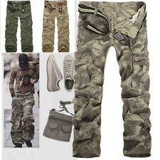 New Men's Cotton Casual Military Army Cargo Camo Combat Work Pants No Belt R49