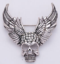 Punk Style Hollaween Demon Wing Carved Rhinestone Skull Brooch Metal Jewelry Hot