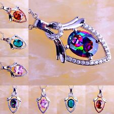 Fascinate AAA Rainbow & Pink & Green Topaz Ruby Spinel Gemstone Silver Necklace