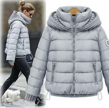 Chic Women's Casual Kitted Hooded Quilted Thicken Duck Down Short Jackets Coats