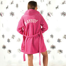 Womens Playboy Bunny Print Dressing Gown Loungewear In Pink PB1 WD